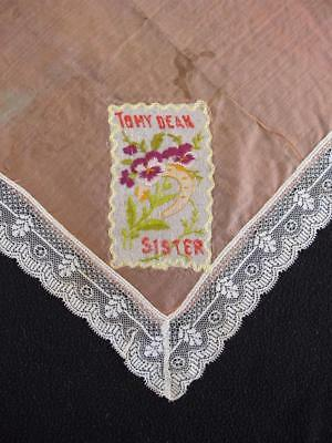 "Antique WW1 Silk & Embroidered Handkerchief Hanky - ""To My Dear Sister"""