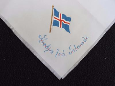 Hand Painted Souvenir Handkerchief Hanky - Greetings from Iceland - Flag
