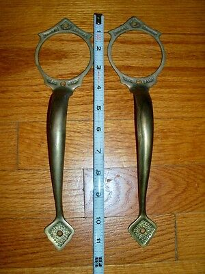 2 Large Vintage Solid Brass Door Pull Handle