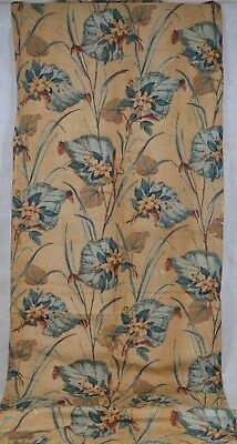chintz fabric remnant 24 in x 80 in early tan green floral quilt repair antique