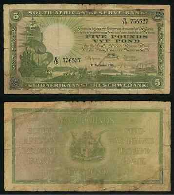 Currency 1938 South African Reserve Bank Five Pound Banknote Sailing Ship P# 86b