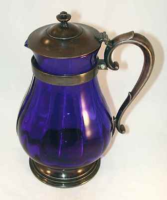 Old R. Wallace Large Cobalt Blue Blown Glass Pitcher Silverplate Lid Base Handle