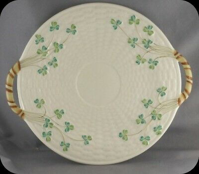 Belleek Shamrock Basket Weave Cake Plate Third Period Black Mark - 1926 - 1946