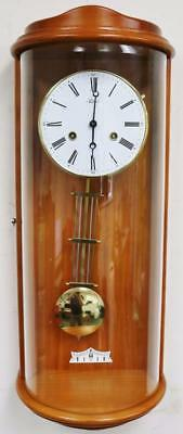 Beautiful Vintage Hermle Golden Pine 8 Day Gong Striking Regulator Wall Clock