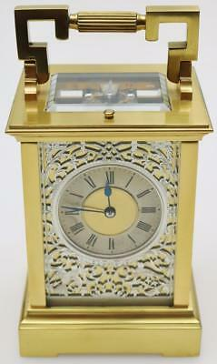 Antique French 8 Day Bronze Ormolu & Silvered Fretwork Repeater Carriage Clock