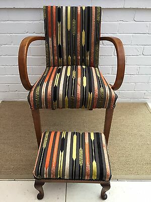 Antique Bent Arm Chair Office New Fabric Vintage Wooden . Plus Stool Art Deco