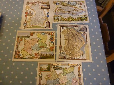 Fifteen old coloured maps of English counties