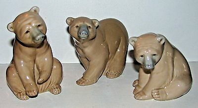 6. THREE Vintage Lladro Spain Fine Porcelain Brown Bear Figurines Perfect!