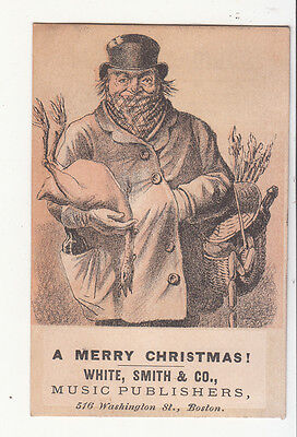 White Smith & Co Music Publishers Boston Merry Christmas Turkey Vict Card c1880s
