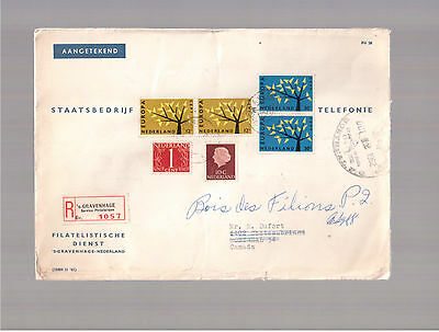 Netherlands 1962 Registered Cover To Canada !!!