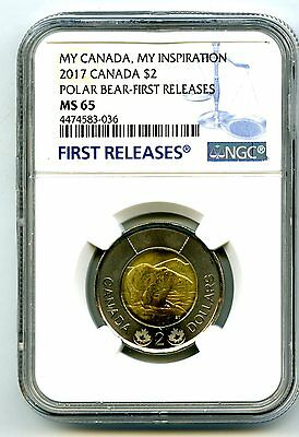 2017 Canada $2 Toonie Ngc Ms65 Polar Bear My Inspiration First Releases