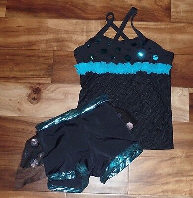 Girls LEXI LUU Dancewear Dance Top Shorts Outfit Set Size XL 12 14 Blue Foil