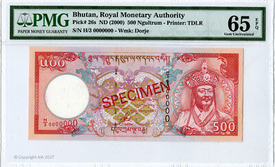 Bhutan Royal Monetary Authority Specimen 500 Ngultrum 2000 PMG Gem Unc 65 EPQ