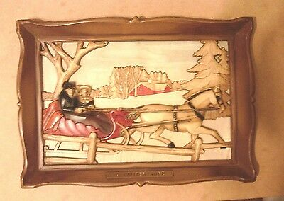 """Syroco Inc. A Winter Ride 3-D Picture with Frame 10"""" X 14"""""""