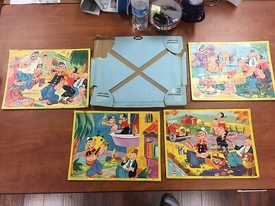 Jaymar Specialties 2363 Popeye Puzzle SET OF FOUR with Case King Features