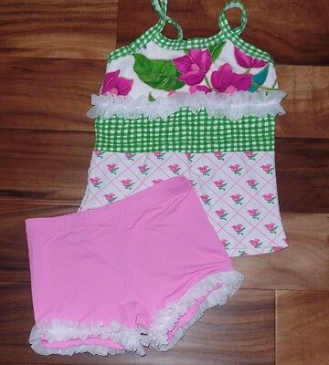 Girls LEXI LUU Dancewear Dance Top Shorts Outfit Set Size L 8 10 Floral Ruffle