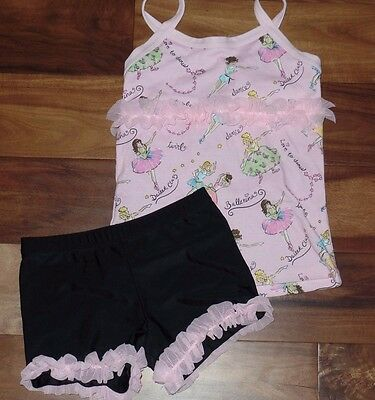 NWT Girls LEXI LUU Dancewear Dance Top Shorts Outfit Set L 8 10 Pink Ballerina