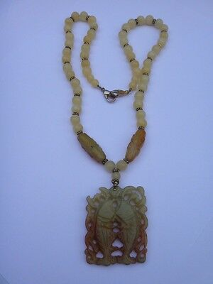Old CHINESE CARVED NATURAL YELLOW WHITE JADE BEAD NECKLACE medallion carved fish