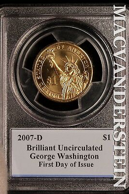 2007-D George Washington Presidential Dollar-Pcgs First Day Of Issue!! Sl13198