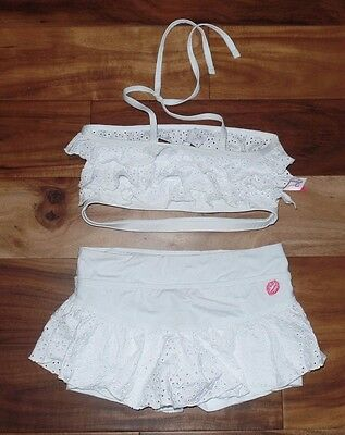 Girls CALIFORNIA KISSES Dancewear Dance Top Shorts Outfit Set Size XL 12 White