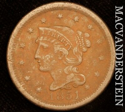 1851 Braided Hair Large Cent - Scarce!!  Better Date!!  #u9555