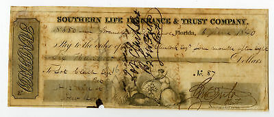 FL Southern Life Insuruance & Trust Co $650 Check from 1840 Fine