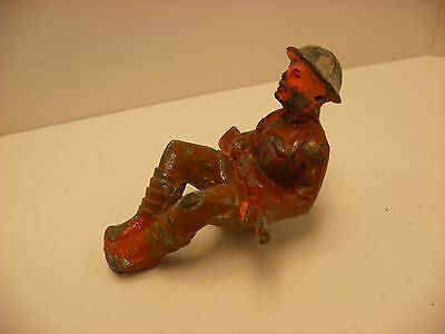 Antique Vintage Toy Lead Soldier - WW1 Sitting with Rifle