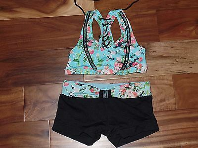 Girls CALIFORNIA KISSES Dancewear Dance Top Shorts Outfit Set Size XL 12