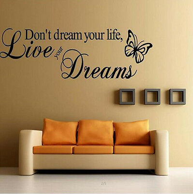DIY Removable Home Room Decor Quote Word Decal Vinyl Art Wall Stickers Bedroom
