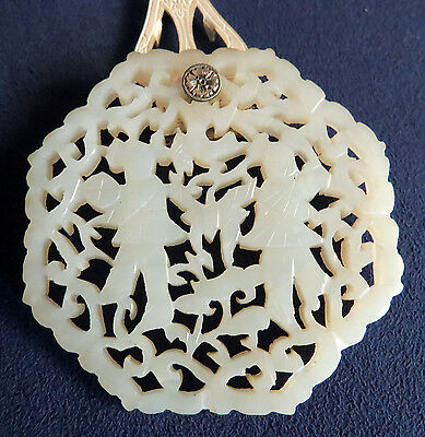 Antique Carved Chinese White Jade Figural 8 Sided Dress Clip / Pendant
