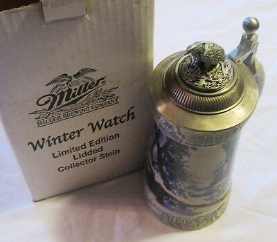 Miller Beer Brewing 2000 Winter Watch Limited Edition Lidded Stein Mug W/box!