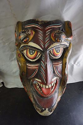 Vintage Tribal Wooden Mask Wall Hanging Hand Carved