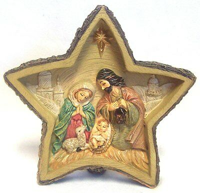 Hand Painted Poly Resin Christmas Nativity Scene Star Ornament Decoration 12cm