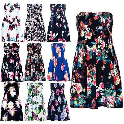 Ladies Womens Boobtube Sheering Floral Rose Printed Bandeau Strapless Dress Top