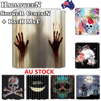 Bathroom Shower Curtain Bath Mat Set With Hooks Animal Skull Tree  Halloween Dec