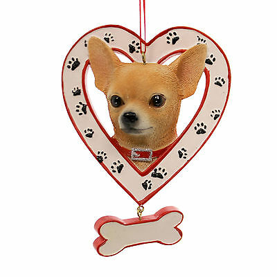 Personalized Ornament DOG IN HEART W/BONE ORNAMENT Resin Canine A1435 Chihuahua
