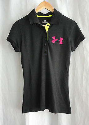 UNDER ARMOUR Women's black POLO SHIRT TOP Sz S small