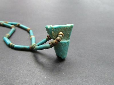 NILE  Ancient Egyptian Royal Crown Amulet  Faience Mummy Bead Necklace c 1000 BC