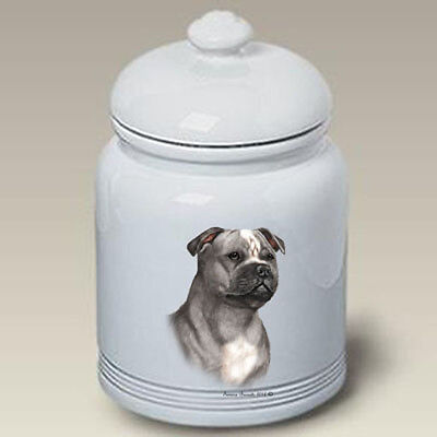 Ceramic Treat Cookie Jar - Blue & White Staffordshire Bull Terrier (TB) 34248