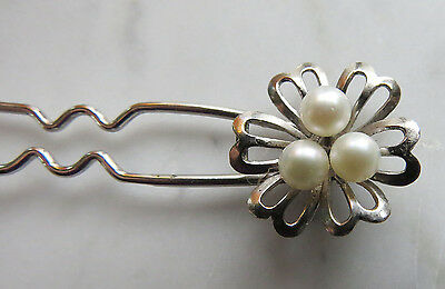 Vintage Sterling Silver Flower Retro Hair Pin Barrette Antique Faux Pearls