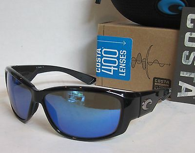 COSTA DEL MAR black/blue mirror LUKE POLARIZED 400G sunglasses! NEW IN BOX!