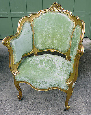 Unique Antique French Water Gilded Wood Arm Chair c1880-1900 Louis XV style