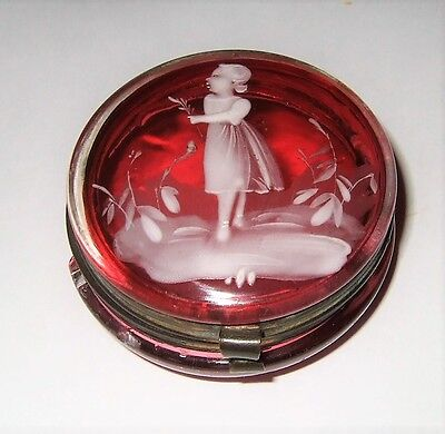 Antique Mary Gregory Glass Vanity Jar Cranberry Glass Vanity Jar Rare Vanity Box