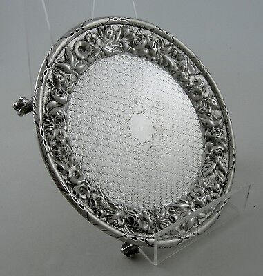 Coin Silver AE Warner REPOUSSE footed salver with diapered bowl (Ca. 1840-50)