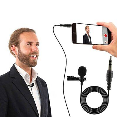 Black Clip On Lapel Microphone Hands Free Wired Condenser Mini Lavalier Mic Jack