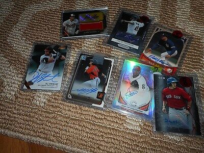 Signed Baseball Card Lot (7) Red Sox Reds Orioles Patch Yankees Braves Autograph
