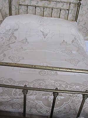 Beautiful Large Antique Lace Embroidered Linen Tablecloth With Deep Filet Lace