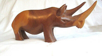 """Wooden Carved African Rhinoceros 9"""" Long X 4"""" Tall Very Good Condition"""