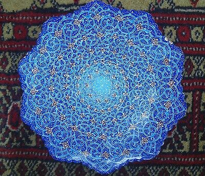 Old Persian~Middle Eastern Intricate Hand Painted Enamel On Copper Dish Signed