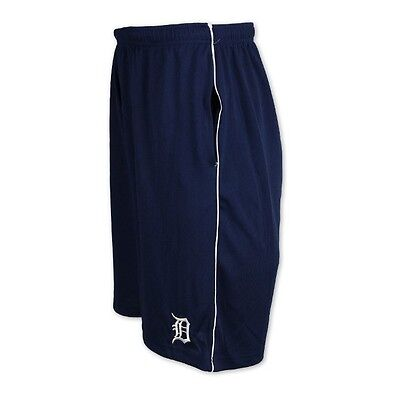 Detroit Tigers Shorts 2XL Embroidered Logo Blue Majestic Athletics MLB